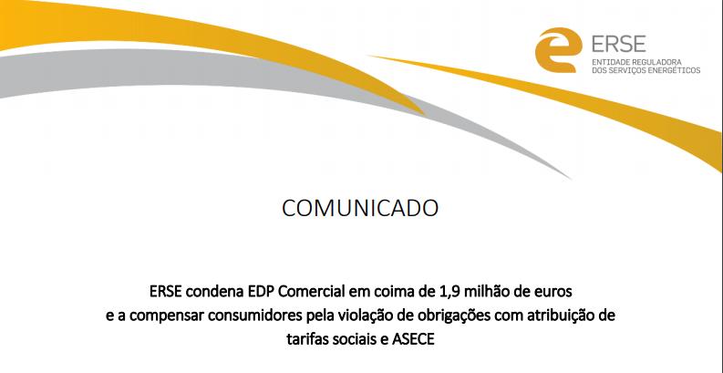 ERSE condena EDP Comercial em coima de 1,9 milhão de euros Uncategorized Gestor Virtual de Energia
